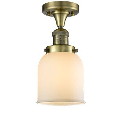 Arsen 1-Light Flush Mount Fixture Finish: Antique Brass, Shade Color: Matte White Cased