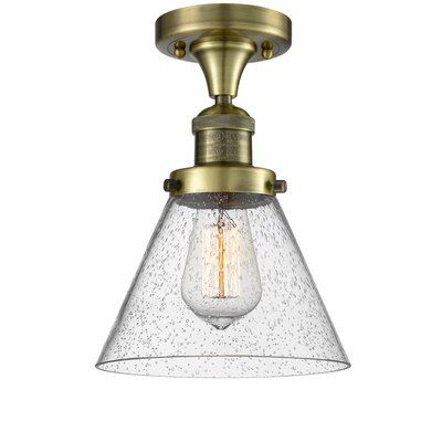 Albertine 1-Light Semi Flush Mount Fixture Finish: Antique Brass