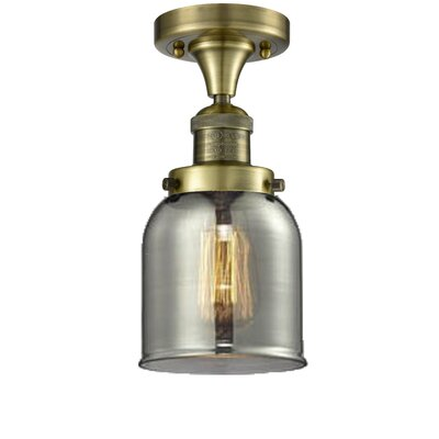 Arsen 1-Light Flush Mount Fixture Finish: Antique Brass, Shade Color: Smoked