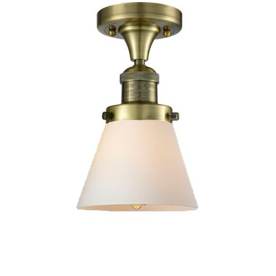 Cavet 1-Light Semi Flush Mount Fixture Finish: Antique Brass, Shade Color: Matte White Cased