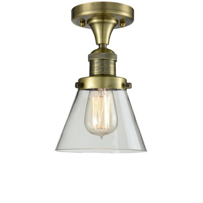 Cavet 1-Light Semi Flush Mount Fixture Finish: Antique Brass, Shade Color: Clear