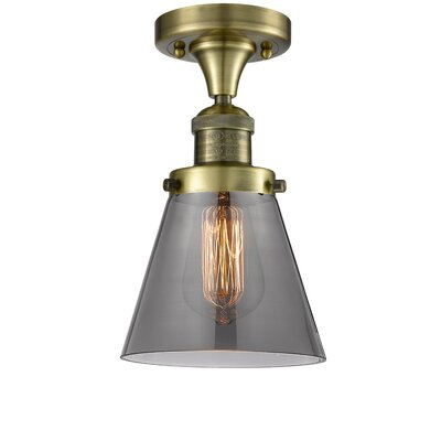 Cavet 1-Light Semi Flush Mount Fixture Finish: Antique Brass, Shade Color: Smoked