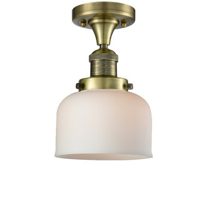 Adalhard 1-Light Semi Flush Mount Fixture Finish: Antique Copper, Shade Color: Matte White Cased