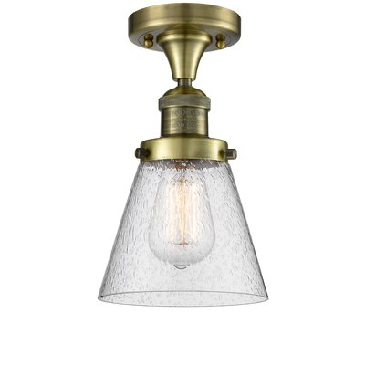 Aliz 1-Light Semi Flush Mount Fixture Finish: Antique Brass