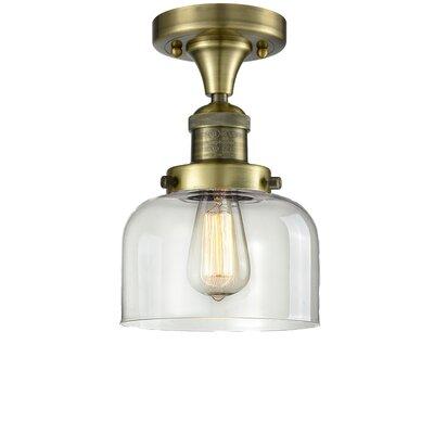 Adalhard 1-Light Semi Flush Mount Fixture Finish: Antique Copper, Shade Color: Clear