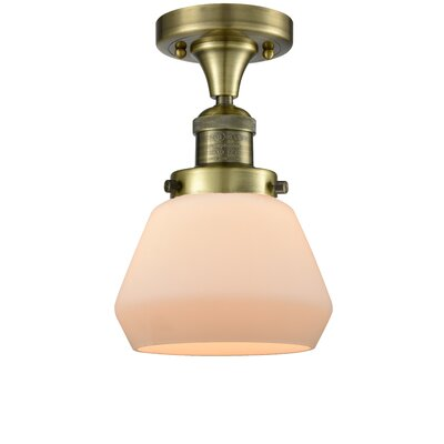 Dupree 1-Light Semi Flush Mount Fixture Finish: Antique Brass, Shade Color: Matte White Cased