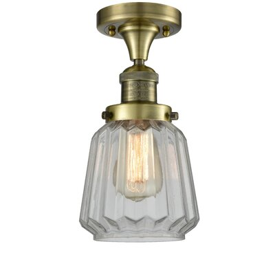 Vinson 1-Light Semi Flush Mount Fixture Finish: Antique Brass