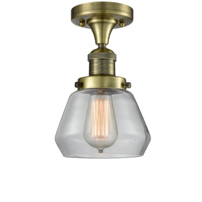 Dupree 1-Light Semi Flush Mount Fixture Finish: Antique Brass, Shade Color: Clear