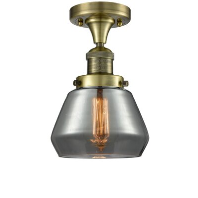 Dupree 1-Light Semi Flush Mount Fixture Finish: Antique Brass, Shade Color: Smoked