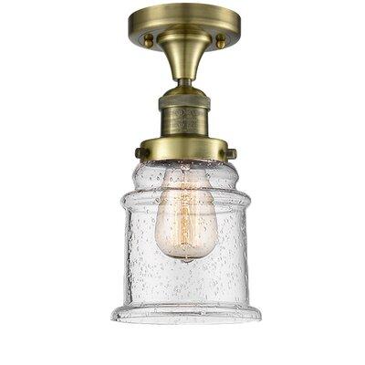 Donson 1-Light Semi Flush Mount Fixture Finish: Antique Brass