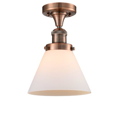 Fabio 1-Light Semi Flush Mount Fixture Finish: Antique Copper, Shade Color: Matte White Cased