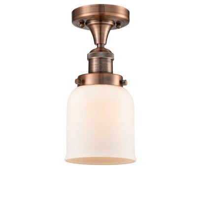 Arsen 1-Light Flush Mount Fixture Finish: Antique Copper, Shade Color: Matte White Cased