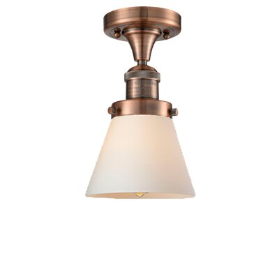 Cavet 1-Light Semi Flush Mount Fixture Finish: Antique Copper, Shade Color: Matte White Cased