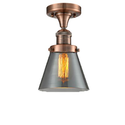 Cavet 1-Light Semi Flush Mount Fixture Finish: Antique Copper, Shade Color: Smoked