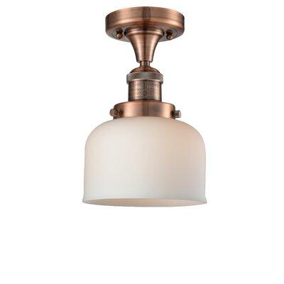 Adalhard 1-Light Semi Flush Mount Fixture Finish: Black/Brushed Brass, Shade Color: Matte White Cased