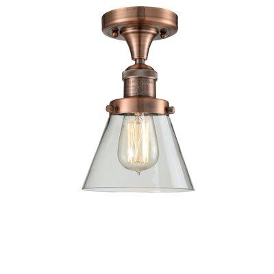 Cavet 1-Light Semi Flush Mount Fixture Finish: Antique Copper, Shade Color: Clear