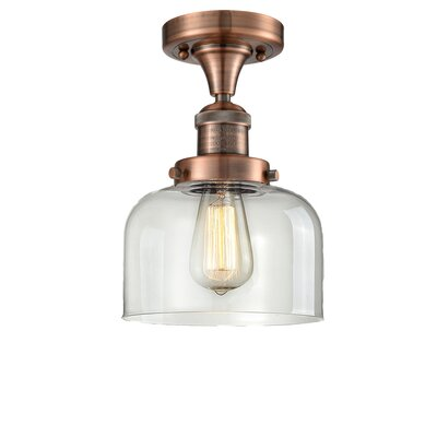 Adalhard 1-Light Semi Flush Mount Fixture Finish: Black/Brushed Brass, Shade Color: Clear
