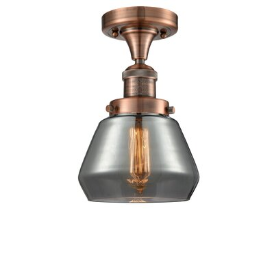 Dupree 1-Light Semi Flush Mount Fixture Finish: Antique Copper, Shade Color: Smoked