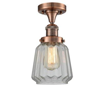 Vinson 1-Light Semi Flush Mount Fixture Finish: Antique Copper