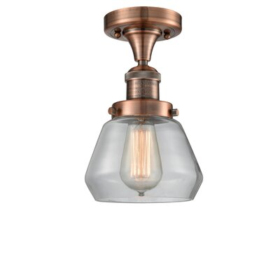 Dupree 1-Light Semi Flush Mount Fixture Finish: Antique Copper, Shade Color: Clear