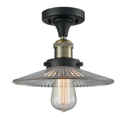 Katalina 1-Light Semi Flush Mount Fixture Finish: Black/Brushed Brass