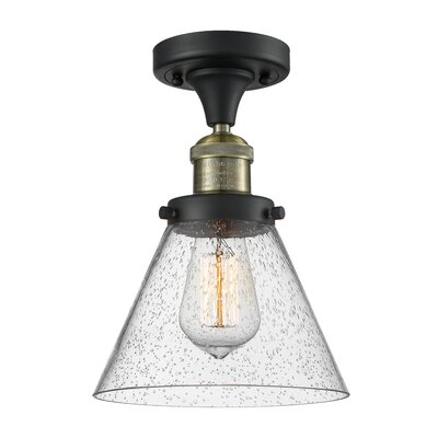 Albertine 1-Light Semi Flush Mount Fixture Finish: Black Brushed Brass