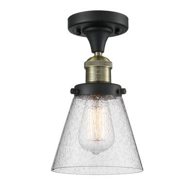 Aliz 1-Light Semi Flush Mount Fixture Finish: Black Brushed Brass