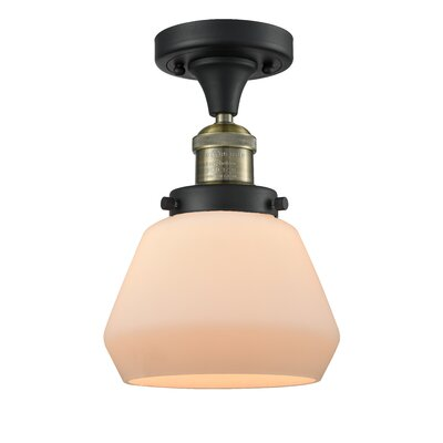 Dupree 1-Light Semi Flush Mount Fixture Finish: Black Brushed Brass, Shade Color: Matte White Cased