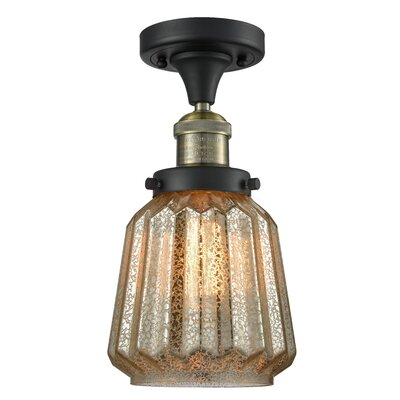 Vinson 1-Light Semi Flush Mount Fixture Finish: Black Brushed Brass