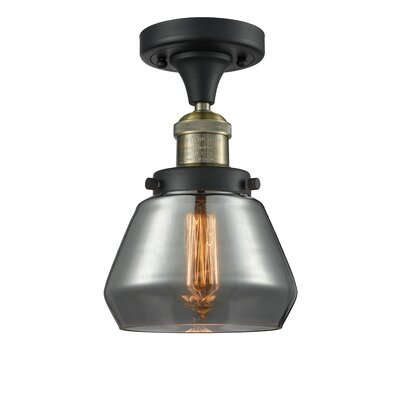 Dupree 1-Light Semi Flush Mount Fixture Finish: Black Brushed Brass, Shade Color: Smoked