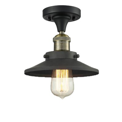 Ame 1-Light Semi Flush Mount Fixture Finish: Black/Brushed Brass