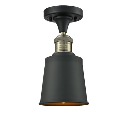 Carn 1-Light Semi Flush Mount Fixture Finish: Black Brushed Brass