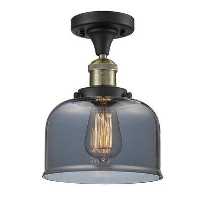 Adalhard 1-Light Semi Flush Mount Fixture Finish: Brushed Brass, Shade Color: Smoked