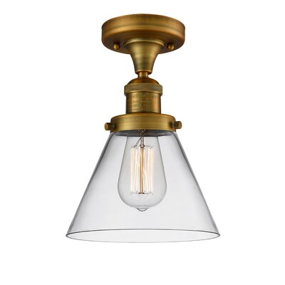 Fabio 1-Light Semi Flush Mount Fixture Finish: Brushed Brass, Shade Color: Clear