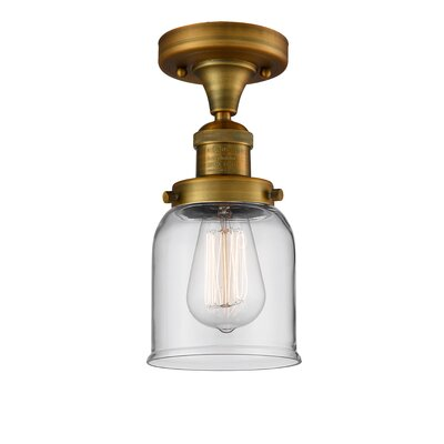 Arsen 1-Light Flush Mount Fixture Finish: Brushed Brass, Shade Color: Clear