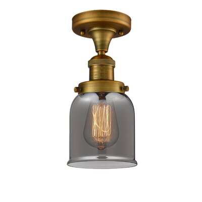 Arsen 1-Light Flush Mount Fixture Finish: Brushed Brass, Shade Color: Smoked