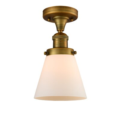 Cavet 1-Light Semi Flush Mount Fixture Finish: Brushed Brass, Shade Color: Matte White Cased