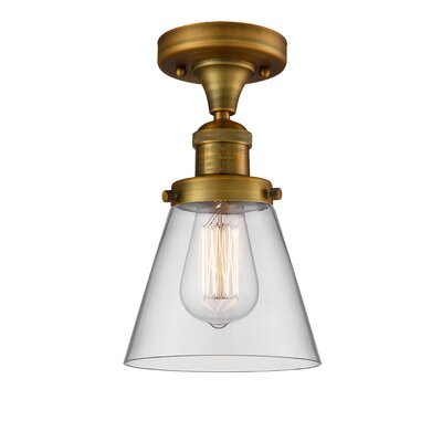 Cavet 1-Light Semi Flush Mount Fixture Finish: Brushed Brass, Shade Color: Clear