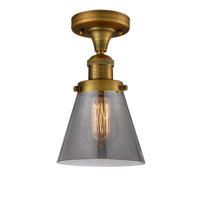 Cavet 1-Light Semi Flush Mount Fixture Finish: Brushed Brass, Shade Color: Smoked