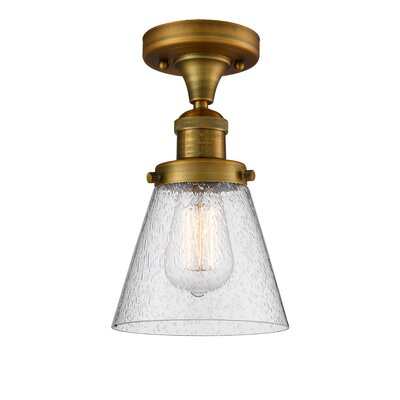 Aliz 1-Light Semi Flush Mount Fixture Finish: Brushed Brass
