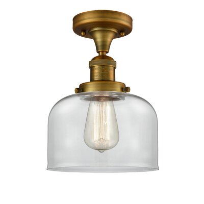Adalhard 1-Light Semi Flush Mount Fixture Finish: Brushed Satin Nickel, Shade Color: Clear