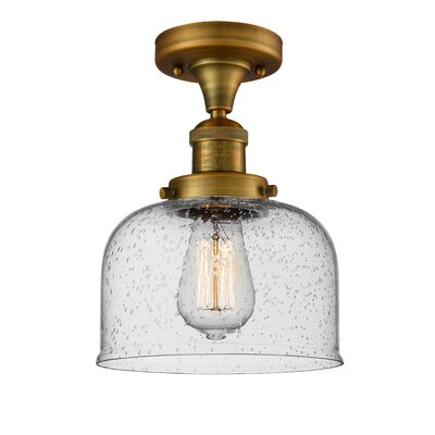 Adette 1-Light Semi Flush Mount Fixture Finish: Brushed Brass