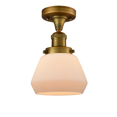 Dupree 1-Light Semi Flush Mount Fixture Finish: Brushed Brass, Shade Color: Matte White Cased