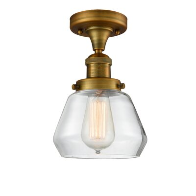 Dupree 1-Light Semi Flush Mount Fixture Finish: Brushed Brass, Shade Color: Clear