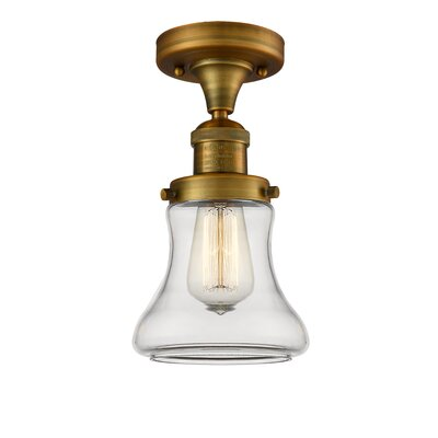 Aubrielle 1-Light Semi Flush Mount Fixture Finish: Brushed Brass