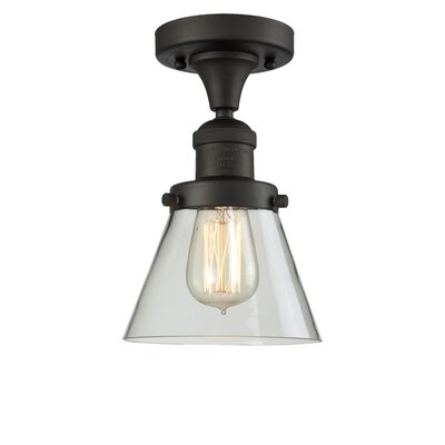 Cavet 1-Light Semi Flush Mount Fixture Finish: Oil Rubbed Bronze, Shade Color: Clear