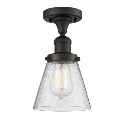 Aliz 1-Light Semi Flush Mount Fixture Finish: Oiled Rubbed Bronze