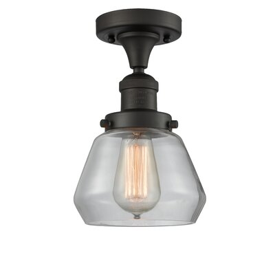 Dupree 1-Light Semi Flush Mount Fixture Finish: Oil Rubbed Bronze, Shade Color: Clear