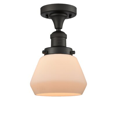 Dupree 1-Light Semi Flush Mount Fixture Finish: Oil Rubbed Bronze, Shade Color: Matte White Cased