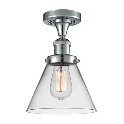Fabio 1-Light Semi Flush Mount Fixture Finish: Polished Chrome, Shade Color: Smoked